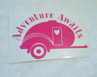 Adventure Awaits Camping in the Wilderness Window Decal
