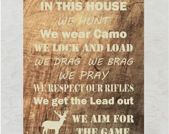 In this House Wooden Hunting Wall Art