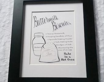 Buttermilk Biscuits Recipe Wall Art-DIY Printable Download