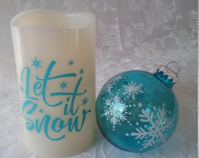 Flameless Decorative Candle- Let It Snow