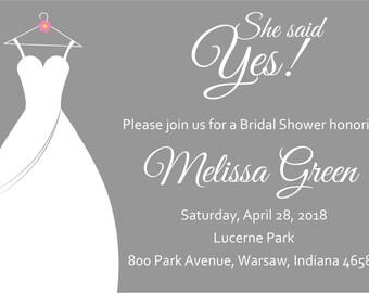 She Said Yes Bridal Shower Invite- Gray