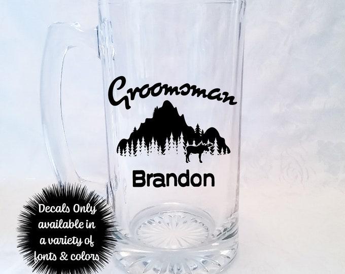 Moose Mountain Groomsman Wedding Stickers for Beer Mug