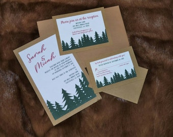 Christmas Tree Farm Forest Wedding Invitaions