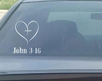 John 3:16 Heart Decal