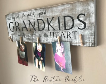 Grandparents Sign Grandkid Picture Holder Wood Grandparent Gift Frame Grandkids Plaque