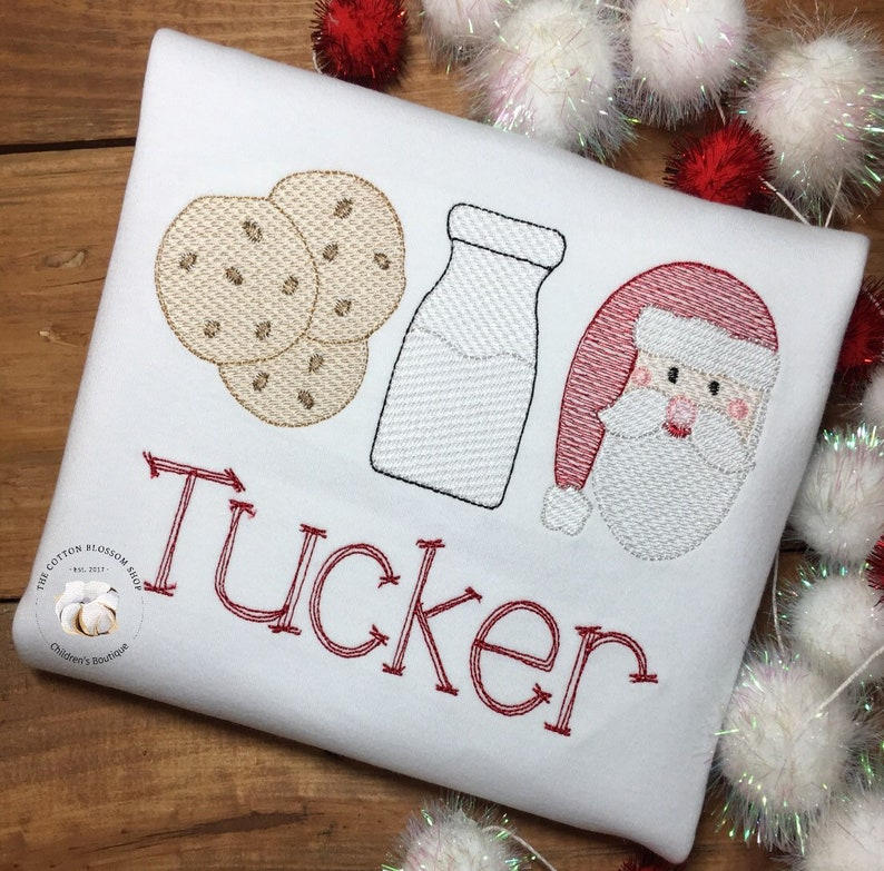 Milk And Cookies With Santa Personalized Christmas Shirt Girls Or Boys Christmas Sketch Design Shirt White Milk Cookies Santa Shirt