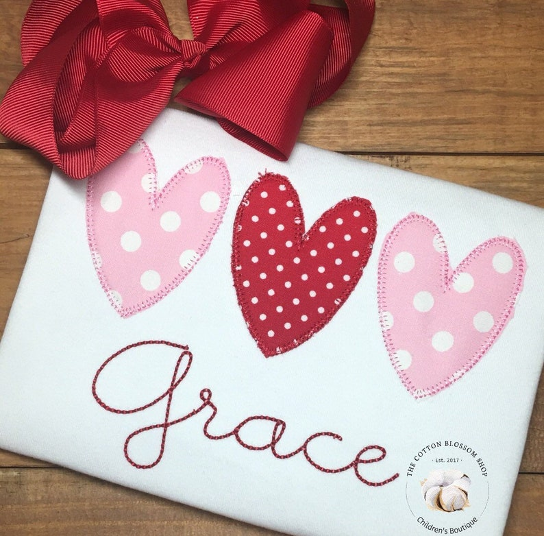 Girls applique Valentine's Day Shirt Personalized image 0