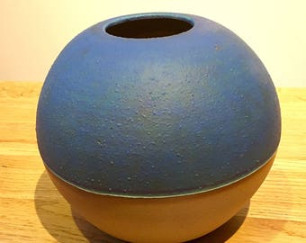 Blue vase - half glazed, handmade and wheel thrown ceramic stoneware bud vase