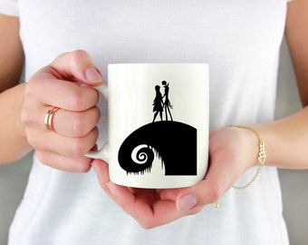 Halloween Hill Couple Permanent Vinyl Decal {Decal ONLY} | Coffee Lover, Coffee Mug Decal, Tumbler Decal, Mug Decal, Cup Decal, Laptop Decal