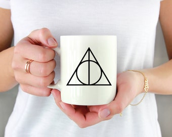 Deathly Hallows Permanent Vinyl Decal {Decal ONLY} | Coffee Lover, Coffee Mug Decal, Tumbler Decal, Mug Decal, Cup Decal, Laptop Decal