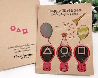 Squid Game Birthday Card Squid Game Card Greeting Card Funny Birthday Card Netflix Card