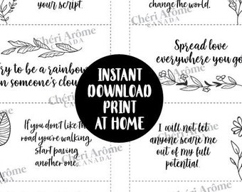 Black and White Lunch Notes Calligraphy Notes Lunch Box Cards Downloadable Cards Encouragement Cards