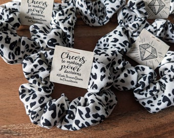 Personalized white leopard scrunchies christmas scrunchies stocking stuffer bachelorette party favors to have & to hold hair tie favors