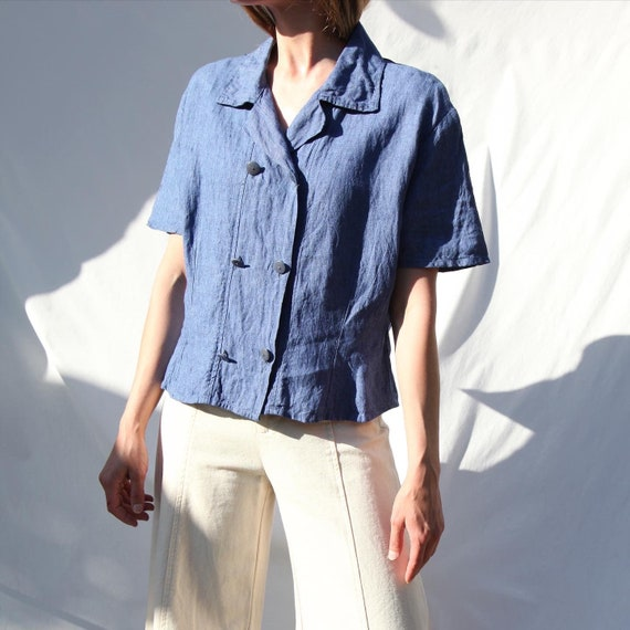 Double-Breasted Linen Semi-Cropped Boxy Blouse