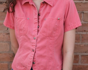 Pink-Coral Structured Collared Button-Down w/ Front Pockets & Tulip Hem- S