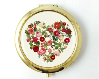 Valentines Day Gift, Floral Heart Compact Mirror,Vintage Botanical Roses Design,Romantic Gift, Gift for Her, Heart Gift