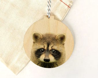 Woodland Christmas Decorations, Eco Friendly Decoration, Wooden Animal Ornament, Modern Rustic Decoration, Wooden Racoon Ornament