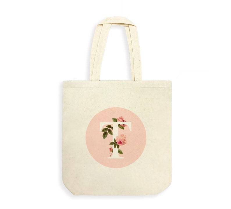 288613cea591 Bridesmaid Tote Bag,Personalized Tote Bag,Monogram pink floral tote  bag,Monogram Bridesmaid Gift,Pink Monogrammed Bridesmaid Gift,Bride Tote
