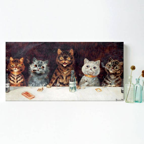 Cats Smoking And Drinking Cat Wall Art Funny Cat Decor Birthday Gift For Husband Cat Lover Gifts For Men Cat Art Canvas Man Cave Decor Ideas