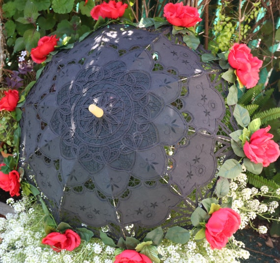 Parasol Black With Red Roses Handmade Etsy