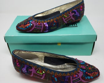 dcd4fe6dedb Vintage Nordstrom Dressy Formal Smoking Ballet Flats Shoes Heavily Beaded  Sequined Hollywood Glam Hip Hop Womens size 7B