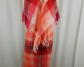Vintage Heather Brae Mohair Wool Plaid Fuzzy Maxi Long Floor Length Skirt Open Front Wrap Shawl Scarf Scotland Womens S Red Orange