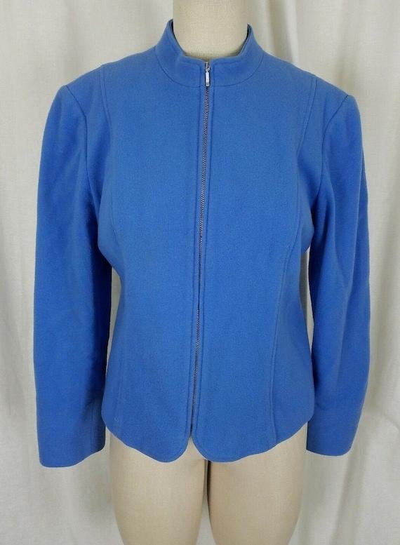 Mainbocher Wool Cashmere Blue Fleece Blazer Jacket