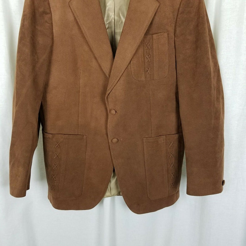 Vintage LeBaron California Clothes Blazer Sport Coat Skinner Ultra Suede Jacket Mens size 42R Brown Braided Accents