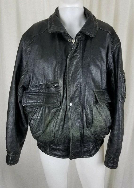 Vintage 90s Wilsons Leather Distressed Black Bombe