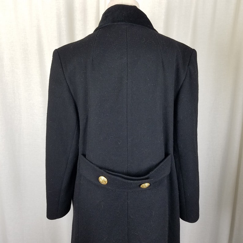 Leslie Fay Wool Double Breasted Military Coat Peacoat Velvet Trim Collar Womens 6 Angelo Fabrics Decorative Gold Buttons