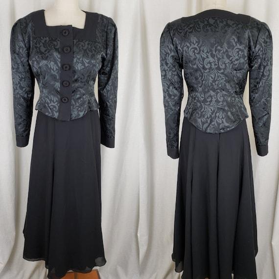 Vintage 1980s Boutique Designer Alan Ray Co Original Black Long Maxi Dress Jacket Suit Womens M Formal Gown