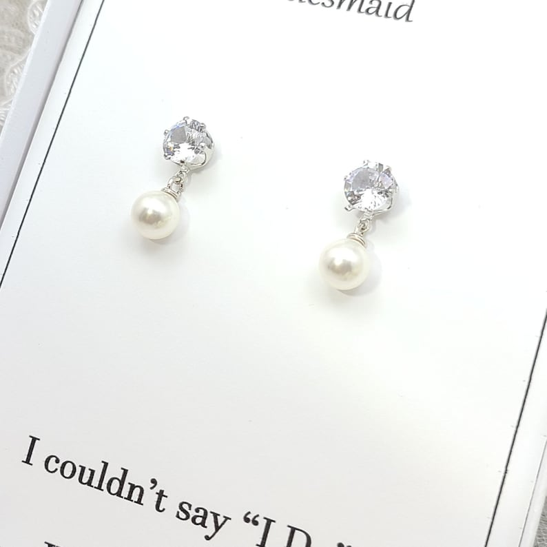 Silver Cubic Zirconia with 8mm Round Pearl Earring Bridesmaid Earring Flower girl Earring. Silver 8mm Pearl Dangle Bridesmaid Earring