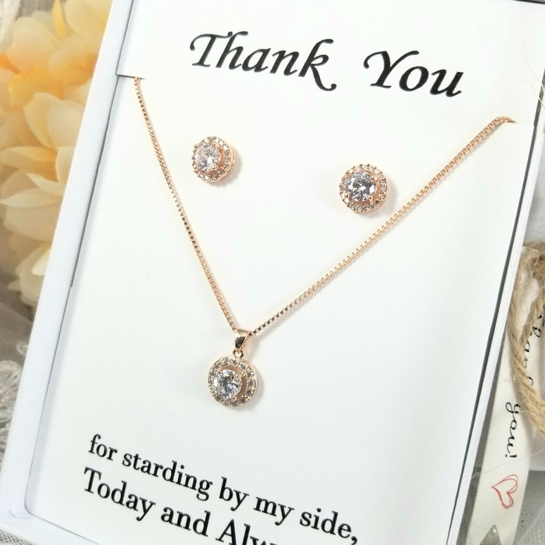 Bridesmaid CZ Rose Gold Halo Necklace and necklace set. Silver Crystal Round Necklace CZ Rose Gold Halo  Necklace and Earring Set