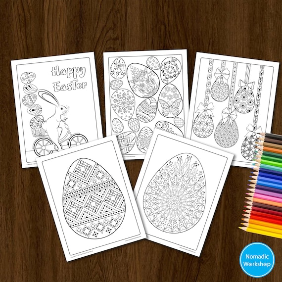 Easter coloring book Easter bunny coloring page Easter egg | Etsy