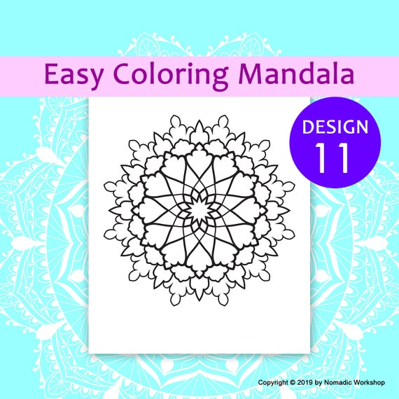 Easy mandalas Coloring page for Kids Printable coloring page Art therapy  gift simple mandala Printable Coloring Pages for Adults color
