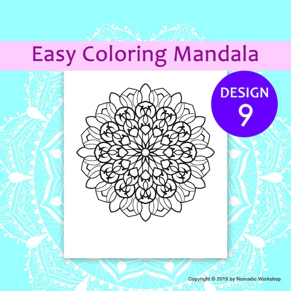 Easy Mandalas Coloring Page For Kids Mandala Colouring Page Etsy