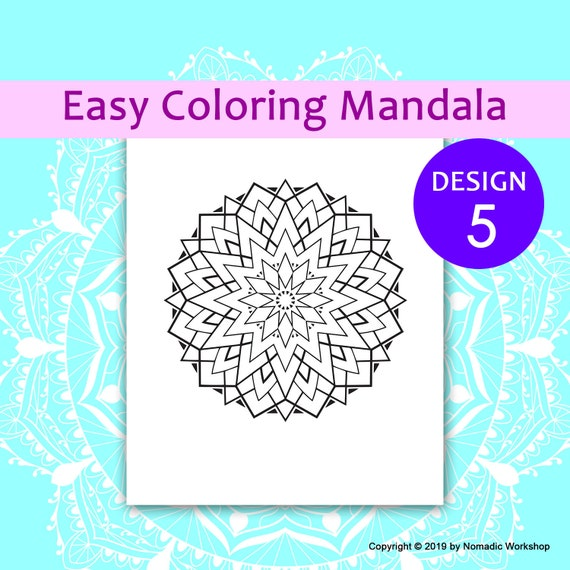 Easy Mandala Coloring Pages Easy Coloring Pages Mandala Etsy