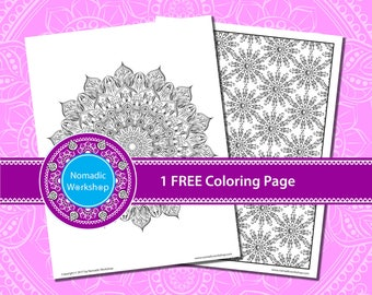 Mandala +1 FREE Coloring page, Coloring page for adults, Coloring for stress relief, Flowers coloring page, Coloring, Mandala, relaxing ,art
