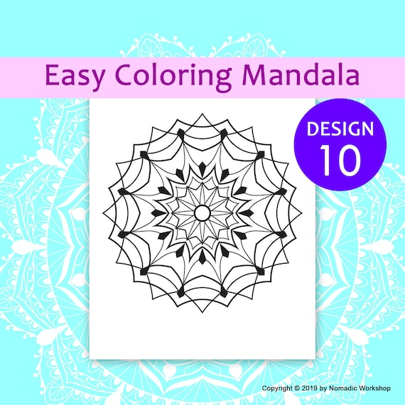Easy Coloring Page Easy Mandalas Coloring Page For Kids Etsy