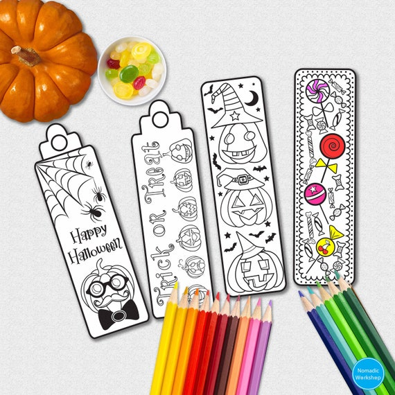 graphic about Printable Bookmarks to Color called Halloween bookmark coloring bookmarks Bookmark halloween coloring bookmarks children printable bookmarks in the direction of shade planner bookmark printable
