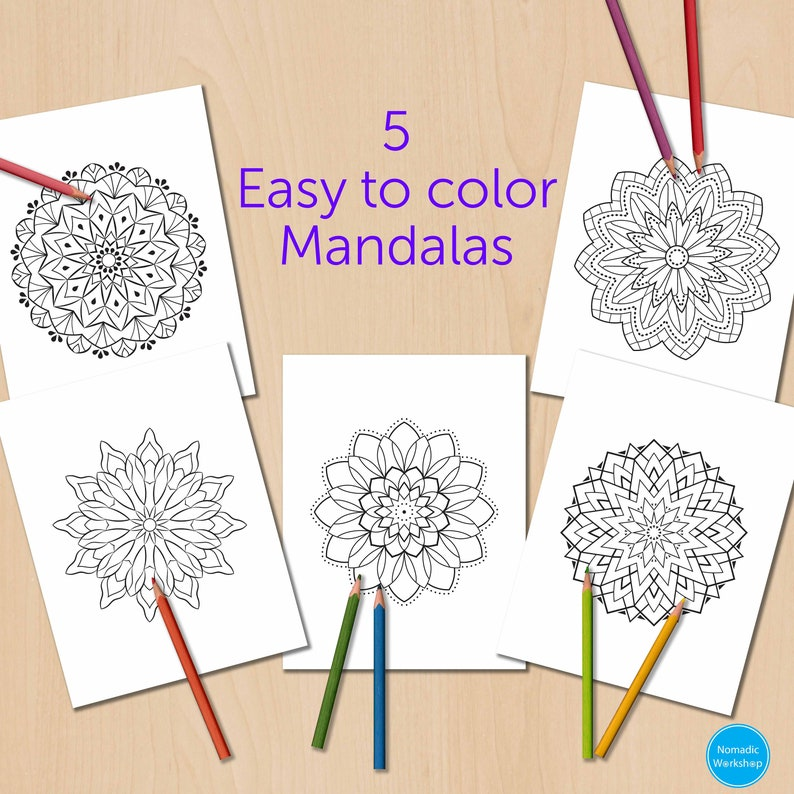 Easy Simple Mandala Coloring Pages
