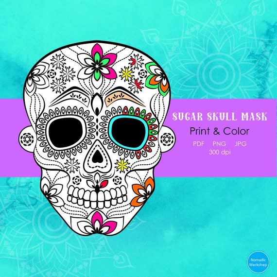 Halloween Sugar Skull Mask For Kids Halloween Mask Printable Halloween Coloring Page Dia De Los Muertos Halloween Printable Calavera Mask