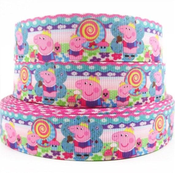 Peppa Pig Ribbon-Pink Peppa Ribbon-Peppa Pig-7/8 Character Ribbon- Cartoon  Ribbon