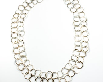 Chain, double length, in sterling silver with round hammered links