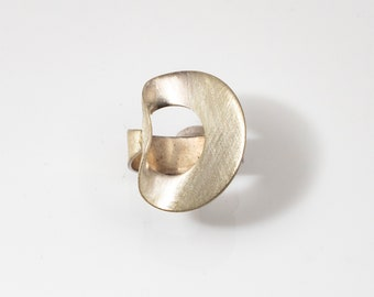 Ring, folded circle statement geometric ring in sterling silver