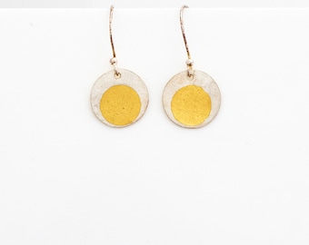 Earrings, small round drops in sterling silver with 24ct gold Keum-boo detail