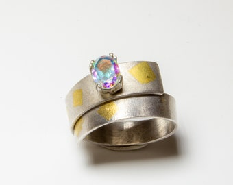 Ring in sterling silver and wrap-over design with faceted blush topaz and 24ct gold Keum-boo detail