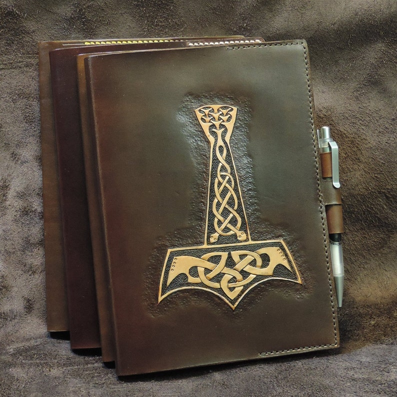6c67b9a6d0c Hand tooled Thors hammer leather bound notebook Mjolnir   Etsy