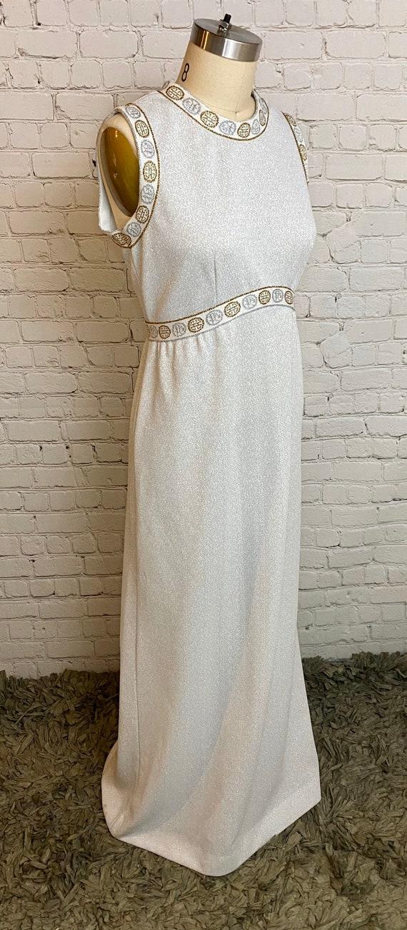 Vintage metallic Grecian 70s maxi Formal Dress Med