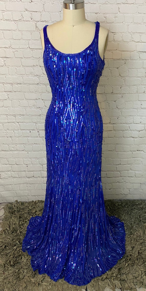 Royal blue silk Vintage Sequin bombshell Gown Dres